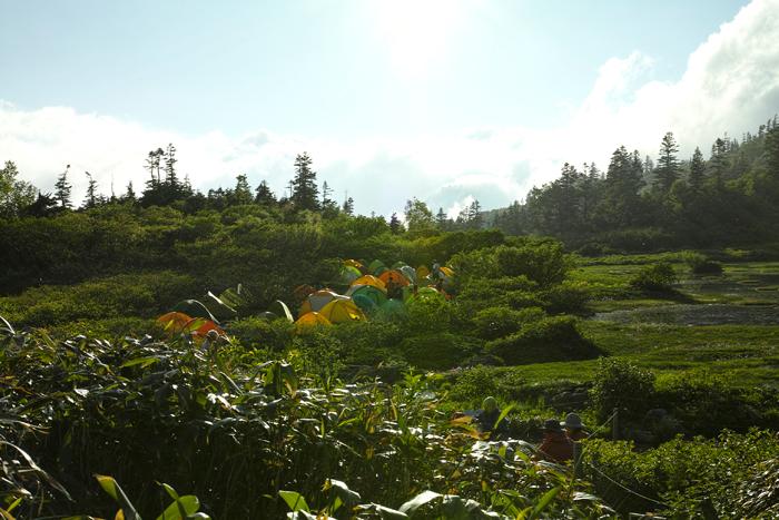 笹ヶ峰から火打山 高谷池でテント泊1日目